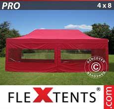 Tenda per racing PRO 4x8m Rosso, inclusi 6 fianchi