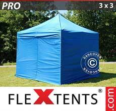 Tenda per racing PRO 3x3m Blu, incl. 4 fianchi