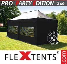 Tenda per racing PRO 3x6m Nero, incl. 6 fianchi