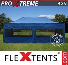 Gazebo pieghevole  Xtreme 4x8m Blu, incl 6 fianchi