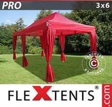 Gazebo pieghevole  PRO 3x6m Rosso, incl. 6 tendaggi decorativi