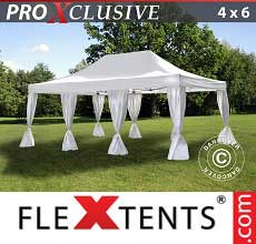 Gazebo pieghevole  PRO 4x6m Bianco, incl. 8 tendaggi decorativi