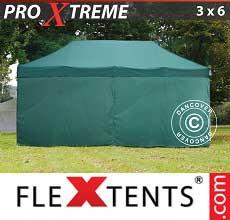 Gazebo pieghevole  Xtreme 3x6m Verde, inclusi 6 fianchi