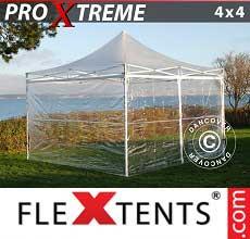 Gazebo pieghevole  Xtreme 4x4m Trasparente, inclusi 4 fianchi