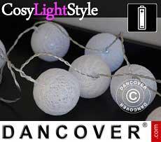 Catena di Luci con Sfere di Cotone, Aries, 30 lampadine a LED, Bianco