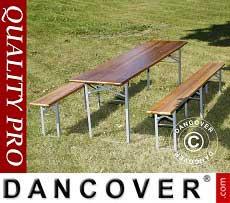 Set Tavolo e panca, legno scuro, gambe in acciaio pieghevoli, 220cm