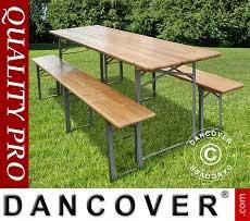 Set Tavolo e panca, Legno chiaro, gambe in acciaio pieghevoli, 220cm