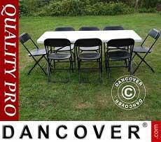 Pacchetto party, 1 tavolo pieghevole (182cm) + 8 sedie, Grigio chiaro/Nero