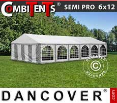 Tendone per feste, SEMI PRO Plus CombiTents® 6x12m, 4 in 1, Grigio/Bianco