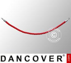 Corda intrecciata per colonnine a corda, 150cm, Rosso e gancio Argento
