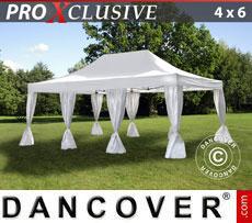 Gazebo pieghevole FleXtents PRO 4x6m Bianco, incl. 8 tendaggi decorativi