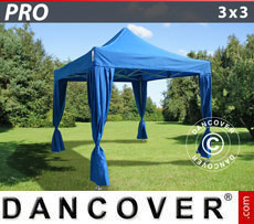Gazebo pieghevole FleXtents PRO 3x3m Blu, incl. 4 tendaggi decorativi