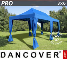 Gazebo pieghevole FleXtents PRO 3x6m Blu, incl. 6 tendaggi decorativi