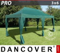 FleXtents Gazebi per Feste PRO 3x6m Verde, incl. 6 tendaggi decorativi