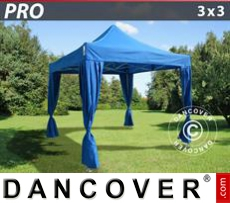 FleXtents Gazebi per Feste PRO 3x3m Blu, incl. 4 tendaggi decorativi