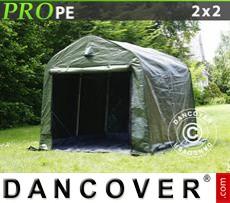 Capannone tenda PRO 2x2x2m PE, con pavimento, Verde/grigio