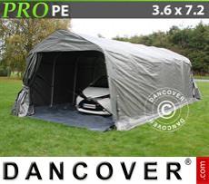 Capannone tenda PRO 3,6x7,2x2,68m PE, con pavimento, Grigio