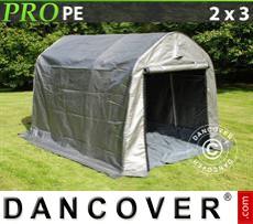 Capannone tenda PRO 2x3x2m PE, con pavimento, Grigio