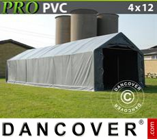 Capannone tenda PRO 4x12x2x3,1m, PVC, Grigio