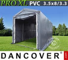 Capannone tenda PRO 3,5x8x3,3x3,94m, PVC, Grigio