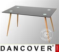 Tavolo da pranzo, Torino, 140x80x75cm, Nero/Rovere