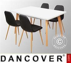 Set da pranzo con 1 tavolo da pranzo Roma, Bianco/Rovere + 4 sedie da pranzo…