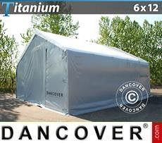 Capannone tenda di deposito Titanium 6x12x3,5x5,5m, Bianco / Grigio