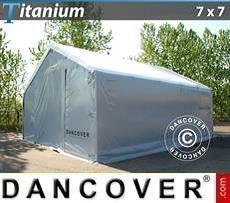 Capannone tenda di deposito Titanium 7x7x2,5x4,2m, Bianco / Grigio