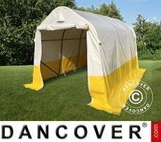 Tenda da lavoro/magazzino PRO 2x3x2m, PVC, Bianco/Giallo, Ritardante di fiamma