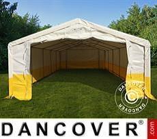 Tenda da lavoro/magazzino PRO 5x10m, PVC, Bianco/Giallo, Ritardante di fiamma
