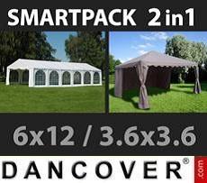 SmartPack Soluzione 2-in-1: Tendone per feste Exclusive 6x12m, Bianco/Gazebo…