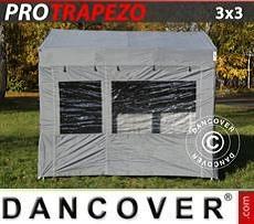 Gazebo pieghevole FleXtents PRO Trapezo 3x3m Grigio, inclusi 4 fianchi