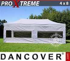 FleXtents Gazebi per Feste Xtreme 4x8m Bianco, inclusi 6 fianchi