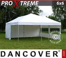 FleXtents Gazebi per Feste  Xtreme 6x6m Bianco, inclusi 8 fianchi
