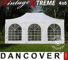 FleXtents Gazebi per Feste  Xtreme Vintage Style 4x6m Bianco, inclusi 8 fianchi