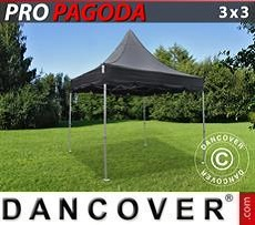 FleXtents Gazebi per Feste PRO Peak Pagoda 3x3m Nero, incluso 4 pareti…