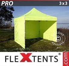 Tenda per racing PRO 3x3m Giallo Fluo/verde, inclusi 4 fianchi