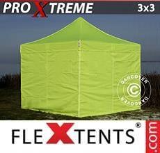 Gazebo pieghevole Xtreme 3x3m Giallo Fluo/verde, inclusi 4 fianchi