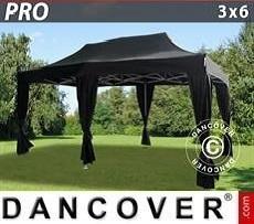 Tendoni Gazebi Party  PRO 3x6m Nero, incl. 6 tendaggi decorativi