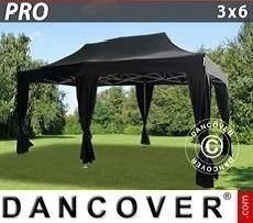 Tendoni Gazebi Party  PRO 3x6m Nero, incl. 6 tendaggi decorativi