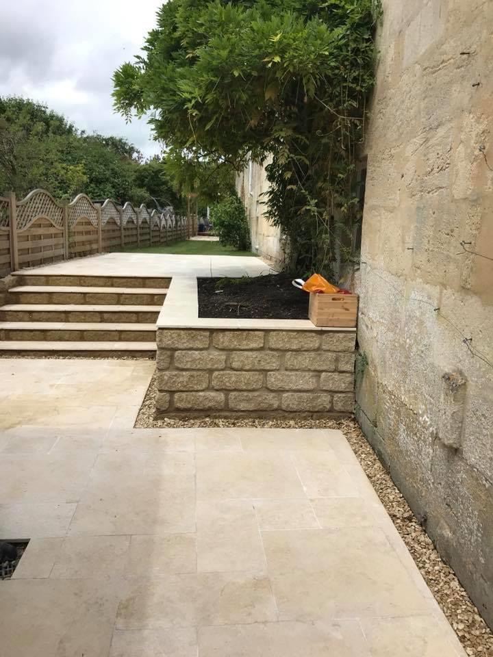 Raised border and stone steps