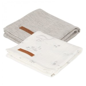 Set 2 Museline din bumbac - Ocean White/Pure Grey