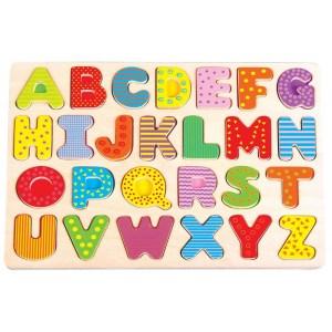 Alfabet din lemn puzzle pentru copii