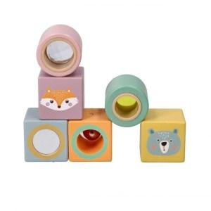 Cuburi din lemn senzoriale - Adam Toys
