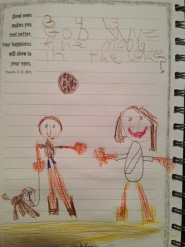 "Jayden's (Kindergarten) Illustration: Jayden and Jesus together - ""God why is the moon in the sky?"""