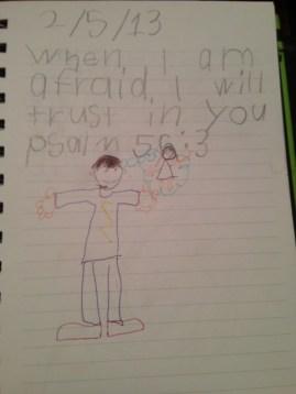 Josh's illustration of scripture: Josh trusting by thinking of Jesus.