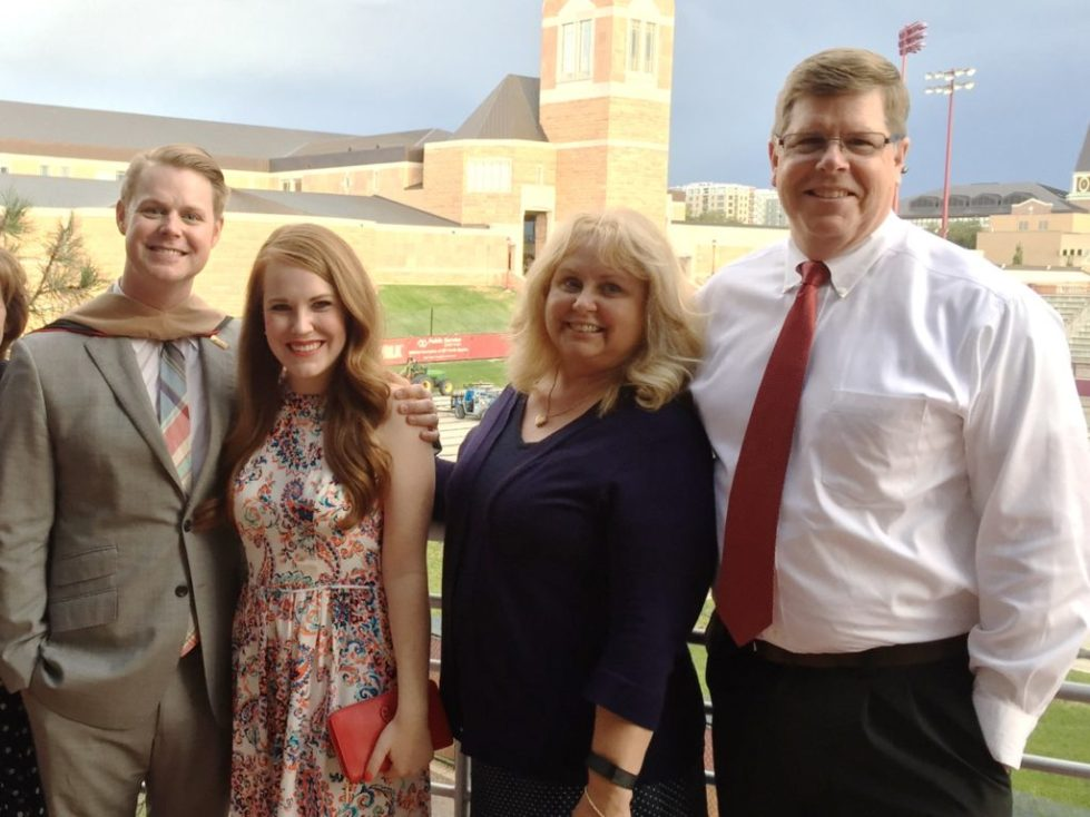 Chip, Jessica, Julie (Chip's Mom), Bob (Chip's Dad) at Chip's Graduation
