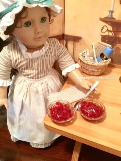Felicity spooning the flummery into serving dishes
