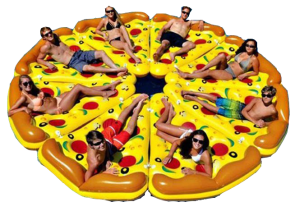 inflatable pizza slices forming a whole pizza