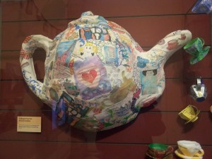 Kelvingrove's Craft Café members made loads of lovely papier mache teacups and saucers plus this giant teapot.